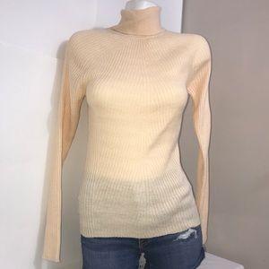 Brave Soul Cream Peach Ribbed Turtleneck Sweater